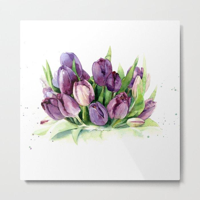 Watercolor bouquet of tulips Metal Print