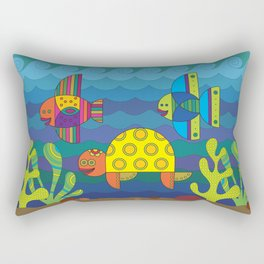 Stylize fantasy fishes and turtle under water. Rectangular Pillow