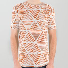 Burnt Orange Watercolor Triangular Pattern All Over Graphic Tee