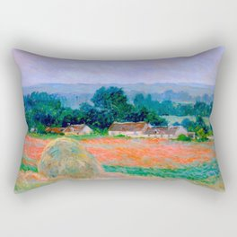 Claude Monet Impressionist Landscape Oil Painting Haystack at Giverny Rectangular Pillow