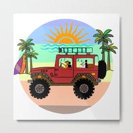 Golden Retriever Dog and Cat beach drive Metal Print