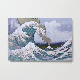 The Great Wave Off Kanagawa Mount Fuji Eruption-Blue and Green Metal Print