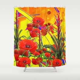 MODERN TROPICAL FLOWERS GARDEN DESIGN IN YELLOW-ORANGE COLORS Shower Curtain