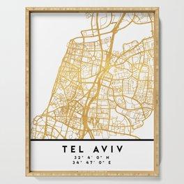 TEL AVIV ISRAEL CITY STREET MAP ART Serving Tray