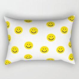 Smiley faces white yellow happy simple smiley pattern smile face kids nursery boys girls decor Rectangular Pillow