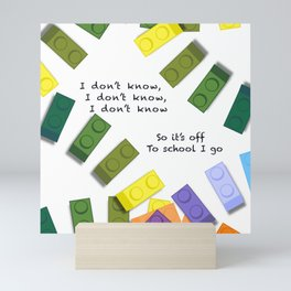 Off to school I go - with my colorful building blocks Mini Art Print