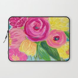 Bouquet of Flowers, Pink and Yellow Flowers, Painting Flowers in Vase Laptop Sleeve