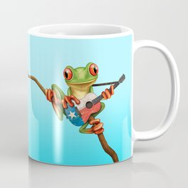 Tree Frog Playing Acoustic Guitar with Flag of Texas Coffee Mug