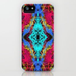 indian psychedelic graffiti drawing abstract in blue pink yellow iPhone Case