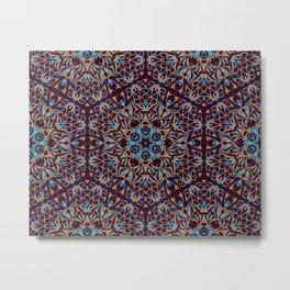 Brown and blue geometric Mandala Rich ornament Metal Print