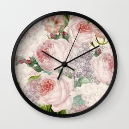 Vintage Roses and Lilacs Pattern - Smelling Dreams Wall Clock