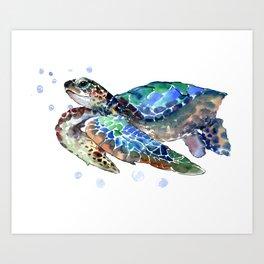Sea Turtle, Green Blue, sea turtle under water, sky blue Art Print