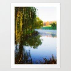 Morning mist on Schnormeier pond Art Print