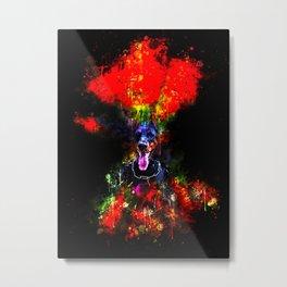doberman dog red flowers meadow splatter watercolor Metal Print