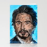 robert downey jr Stationery Cards featuring RD JR by Balazs Pakozdi