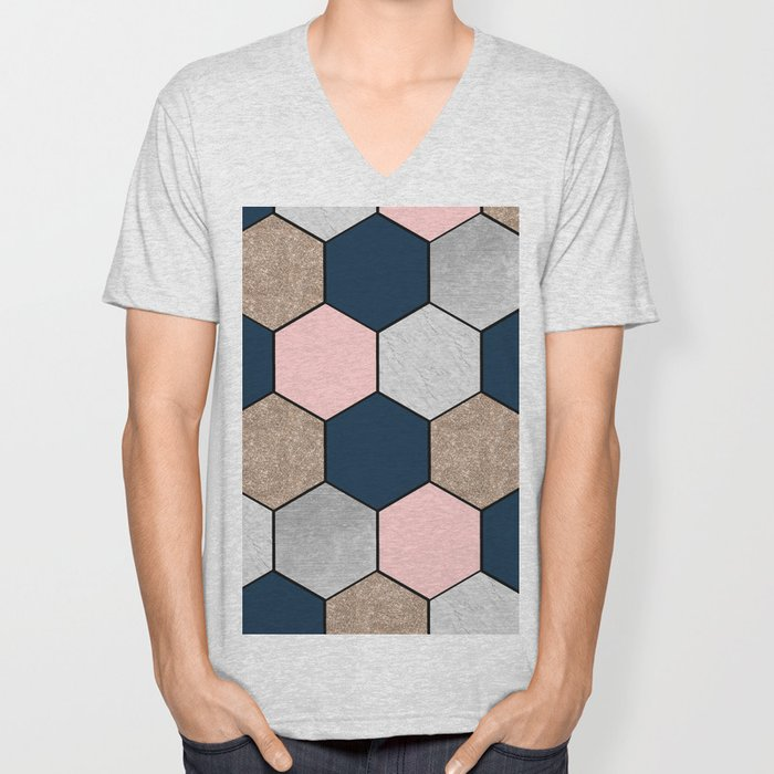 Navy and peach marble and foil hexagons Unisex V-Neck