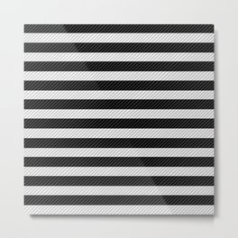 Sleepy Black and White Stripes Metal Print