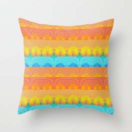 Vintage Sunset Stamp Print Glow Pattern Throw Pillow