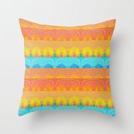 Vintage Sunset Stamp Print Glow Pattern Throw Pillow