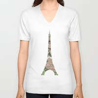 paris map V-neck T-shirts featuring Paris Map by Paula Belle Flores