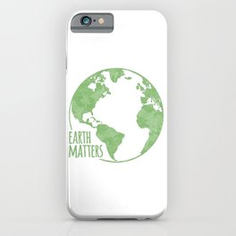 Earth Matters - Earth Day - Grunge Green Outline 01 iPhone Case