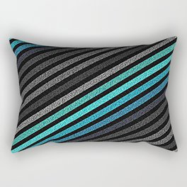 stripeS : Slate Gray Teal Blue Pixels Rectangular Pillow