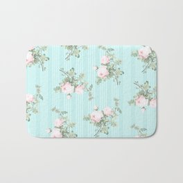 Shabby chic roses pink and mint Bath Mat