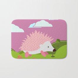 Hedgehog , Purple , flowers , nursery decor Bath Mat