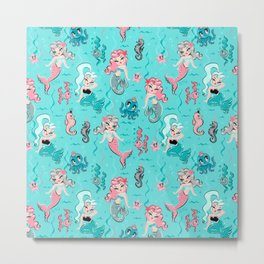 Babydoll Mermaids on Aqua Metal Print
