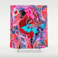 psych Shower Curtains featuring Tiny Cosmic Event by Work the Angle