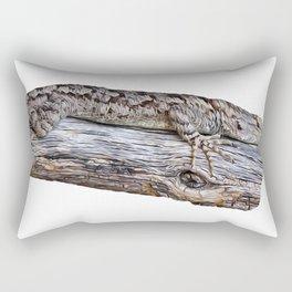 Small Desert Lizard Sunbathing on a log Rectangular Pillow