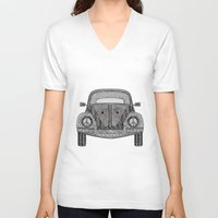 volkswagon V-neck T-shirts featuring Tangled VW Bug by Cherry Creative Designs