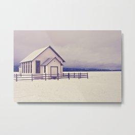 Old Rural Schoolhouse in Winter Metal Print