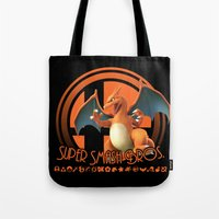smash bros Tote Bags featuring Charizard - Super Smash Bros. by Donkey Inferno