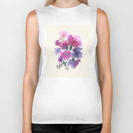 Little Pink Rose Bouquet Biker Tank