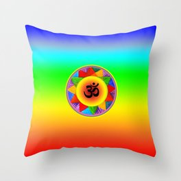 Ohm with Chakra Colours Throw Pillow