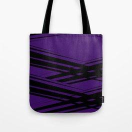 Black Diagonal Crossing On  Purple Tote Bag