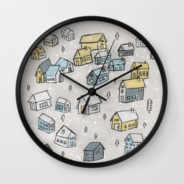 First day of snow Wall Clock