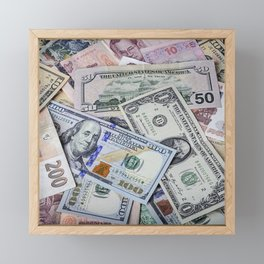 A collection of various foreign currencies Framed Mini Art Print