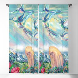 Alpine hummingbirds Blackout Curtain