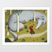 red riding hood Art Prints featuring Little red riding hood by Laura Wood