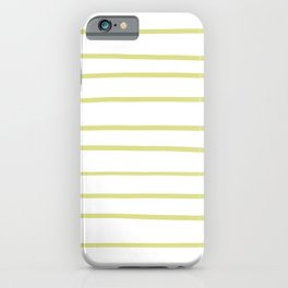 Natural Olive Green - Martinique Dawn - Asian Silk Hand Drawn Horizontal Lines on White iPhone Case
