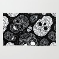 sugar skulls Area & Throw Rugs featuring Sugar Skulls by Zen and Chic