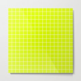 Chartreuse (traditional) - green color - White Lines Grid Pattern Metal Print