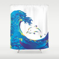 hokusai Shower Curtains featuring Hokusai Rainbow & dolphin_G by FACTORIE