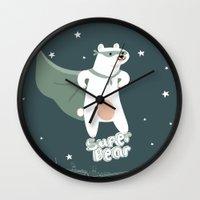 superheros Wall Clocks featuring superbear by BabyKarot