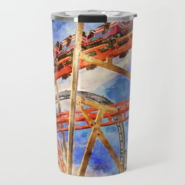 Fun on the roller coaster, close up Travel Mug