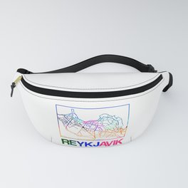 Reykjavik Watercolor Street Map Fanny Pack