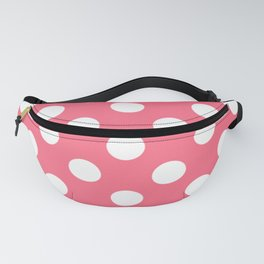 Wild watermelon - pink - White Polka Dots - Pois Pattern Fanny Pack