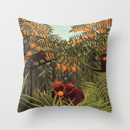 Apes in the Orange Grove by Henri Rousseau 1910 // Colorful Jungle Animal Landscape Scene Throw Pillow
